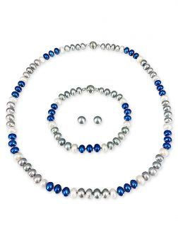 PACIFIC PEARLS PATRIOT COLLECTION U.S. Air Force Pearl Necklace, Bracelet, and Earring Set