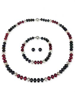 PACIFIC PEARLS PATRIOT COLLECTION U.S. Marines Pearl Necklace, Bracelet, and Earring Set