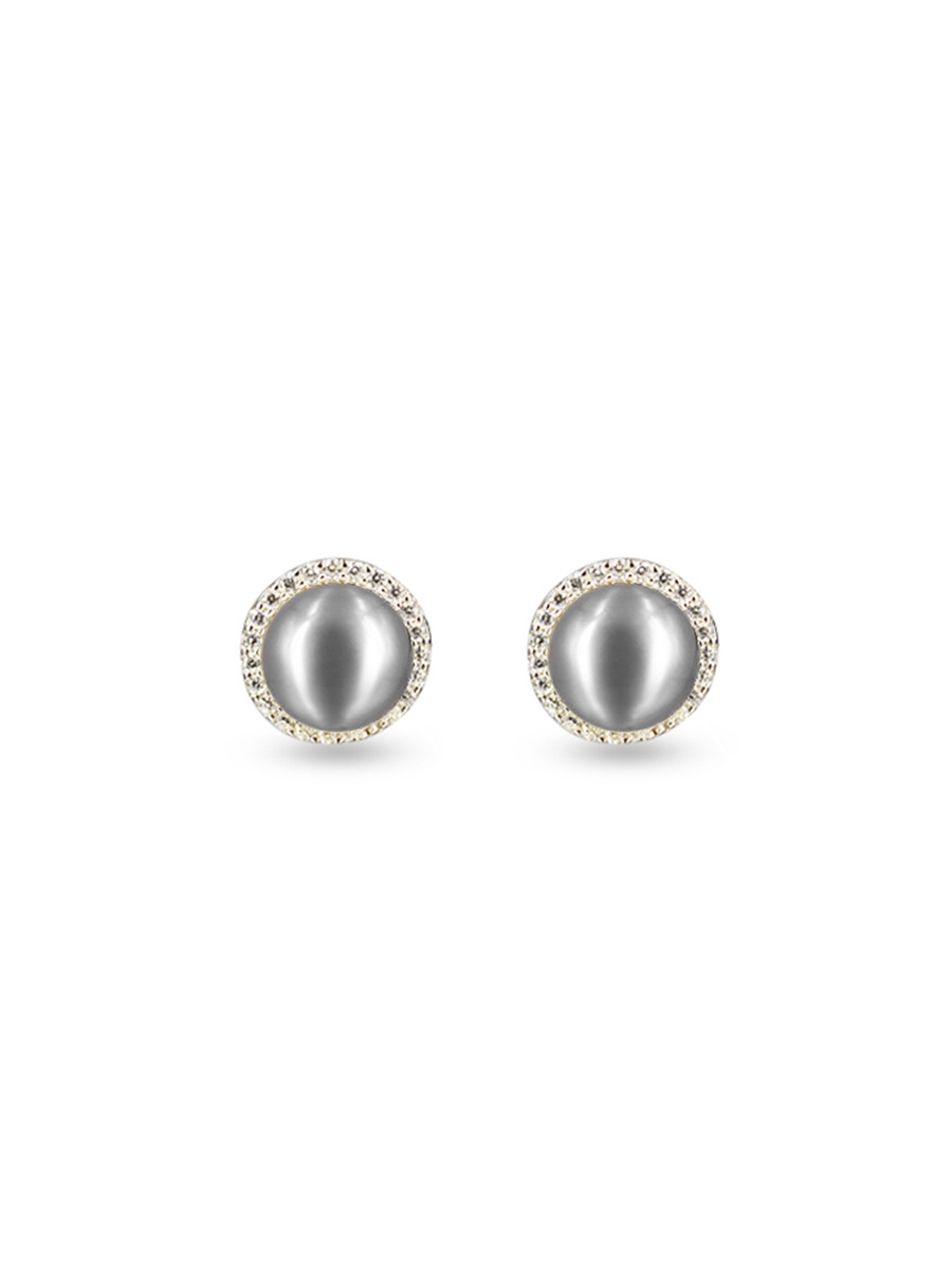 PACIFIC PEARLS ROSE ATOLL COLLECTION Evermore Diamond Encrusted Silver-Gray Pearl Earrings