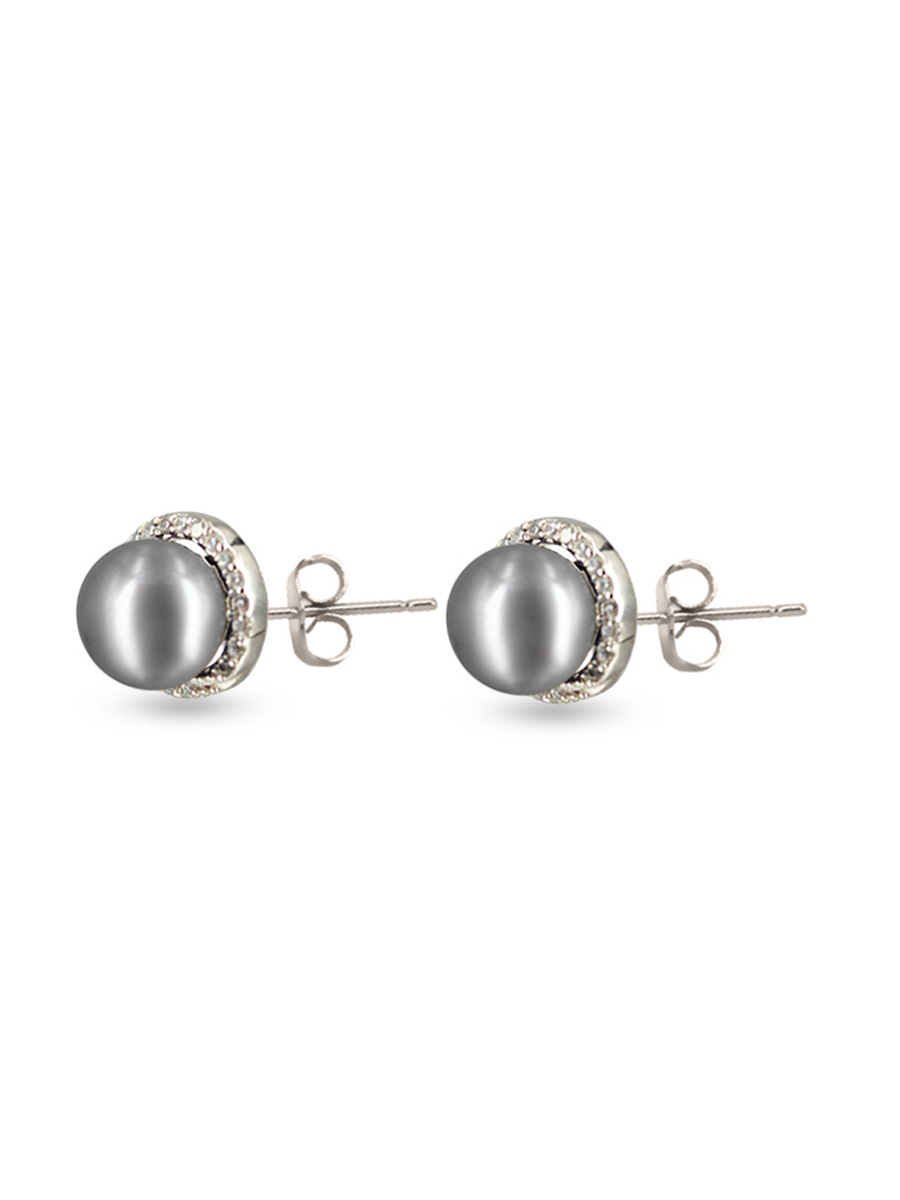 Rose Atoll Collection Evermore Diamond Encrusted Silver Gray Pearl Earrings