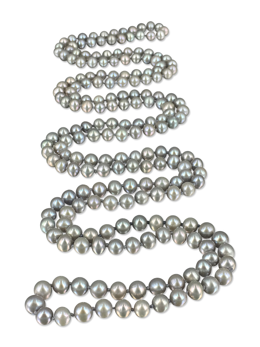 PACIFIC PEARLS SOCIETY ISLANDS COLLECTION Heather Gray 54 Inch Pearl Necklace