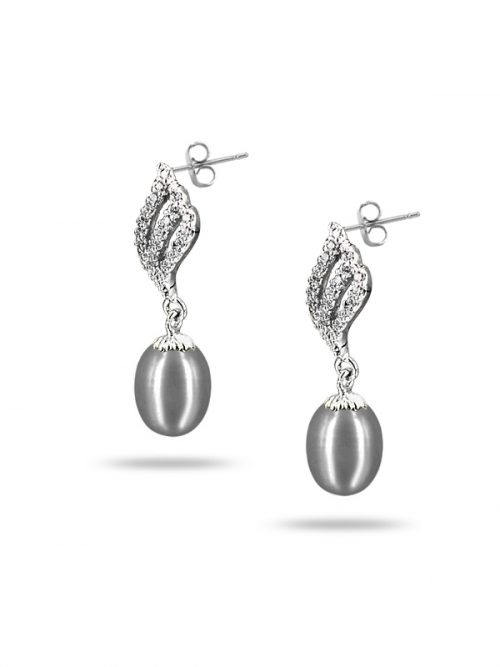 PACIFIC PEARLS SULU SEA COLLECTION Candlelight Diamond Encrusted Silver-Gray Pearl Earrings