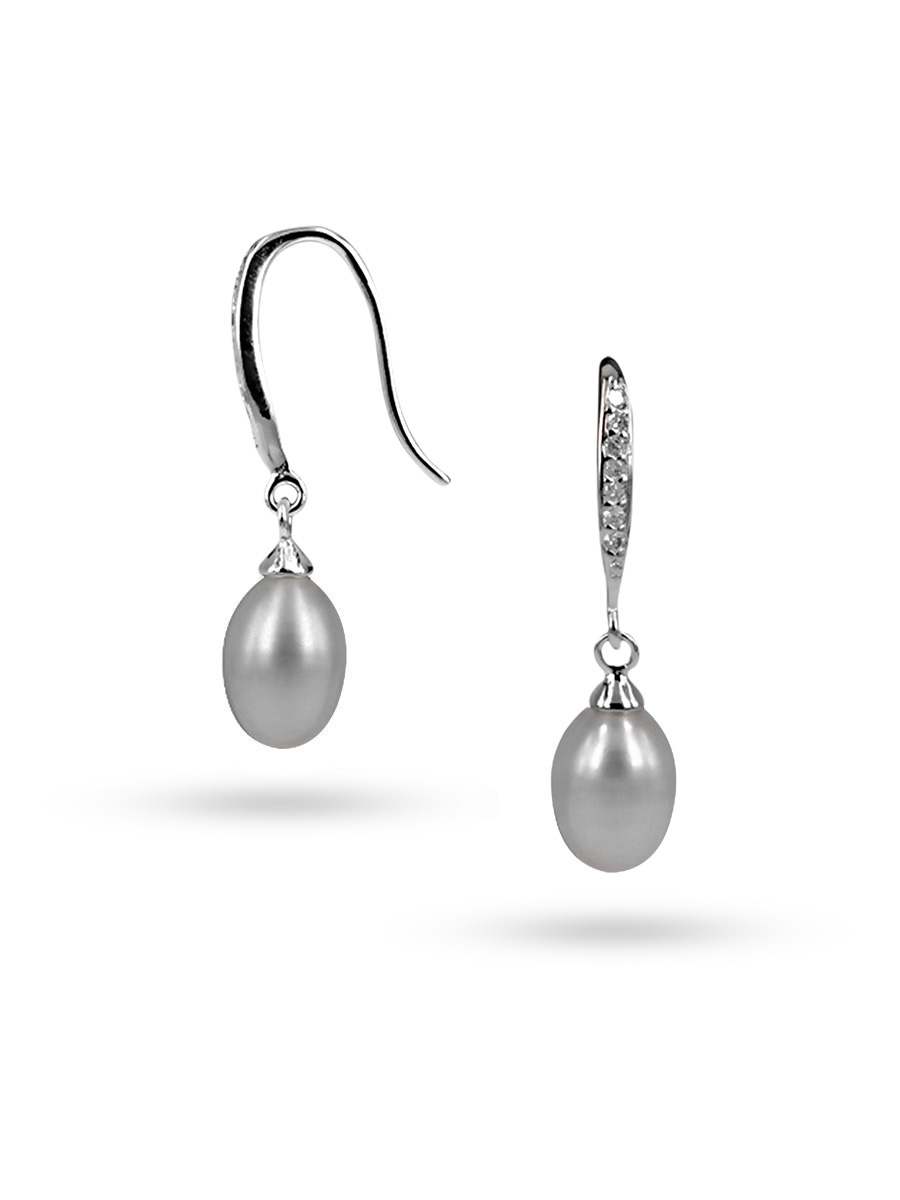 PACIFIC PEARLS SULU SEA COLLECTION Silver-Gray Diamond Drop Pearl Earrings