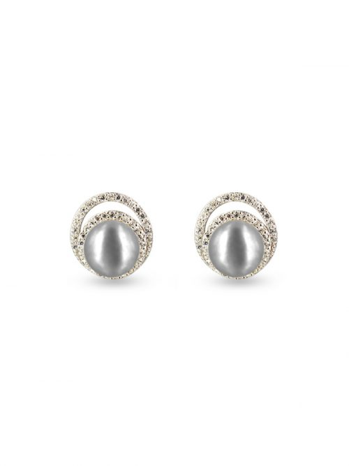 PACIFIC PEARLS TARA ISLAND COLLECTION Celeste Diamond Encrusted Silver-Gray Pearl Earrings