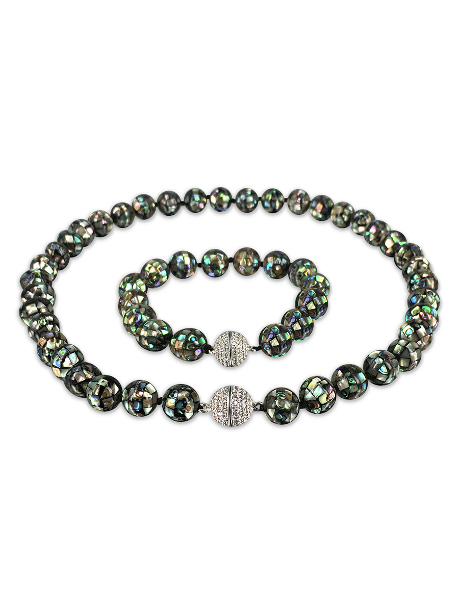 PACIFIC PEARLS NEW-ZEALAND-ABALONE-COLLECTION-10mm-Abalone-Necklace-&-Bracelet-Set