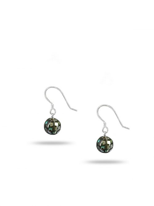PACIFIC PEARLS NEW ZEALAND ABALONE COLLECTION Retro Disco Ball Abalone Drop Earrings