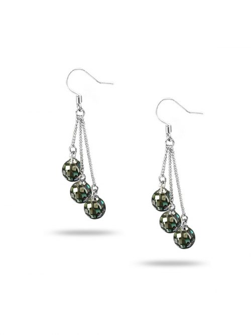 PACIFIC PEARLS NEW ZEALAND ABALONE COLLECTION Retro Disco Ball Abalone Triple Drop Earrings