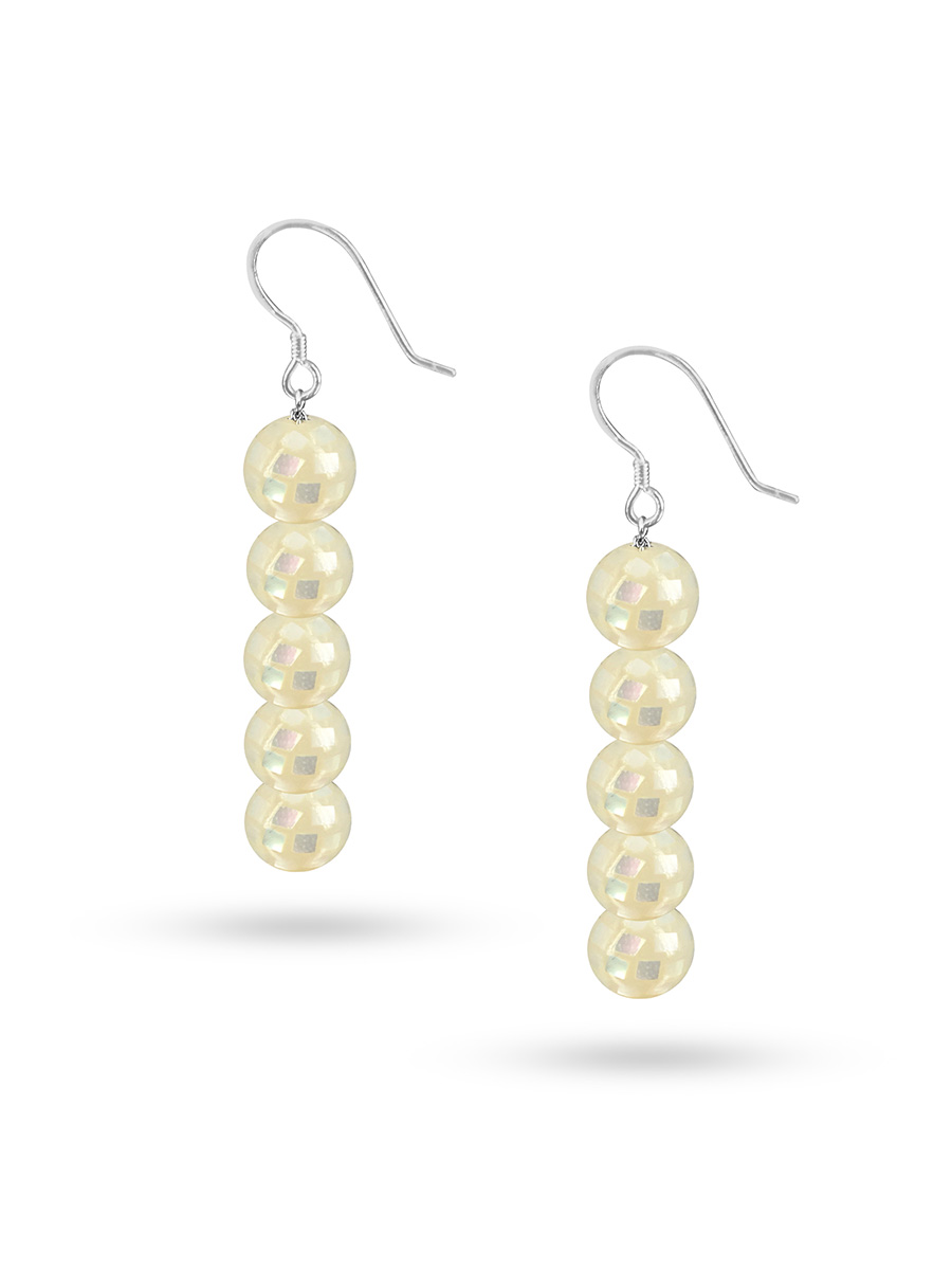 PACIFIC PEARLS SOUTH SEA COLLECTION Retro Disco Ball South Sea Mother-of-Pearl Statement Earrings