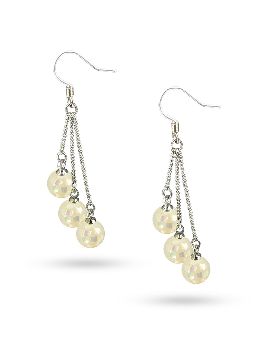 PACIFIC PEARLS SOUTH SEA COLLECTION Retro Disco Ball South Sea Mother-of-Pearl Triple Drop Earrings