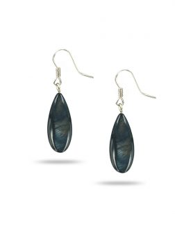 PACIFIC PEARLS TREASURE ISLAND COLLECTION Black Pansy Dewdrop Mother-of-Pearl Earrings