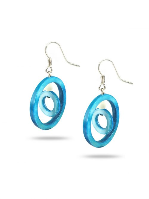 PACIFIC PEARLS TREASURE ISLAND COLLECTION Sky Blue Hula Hoop Mother-of-Pearl Earrings