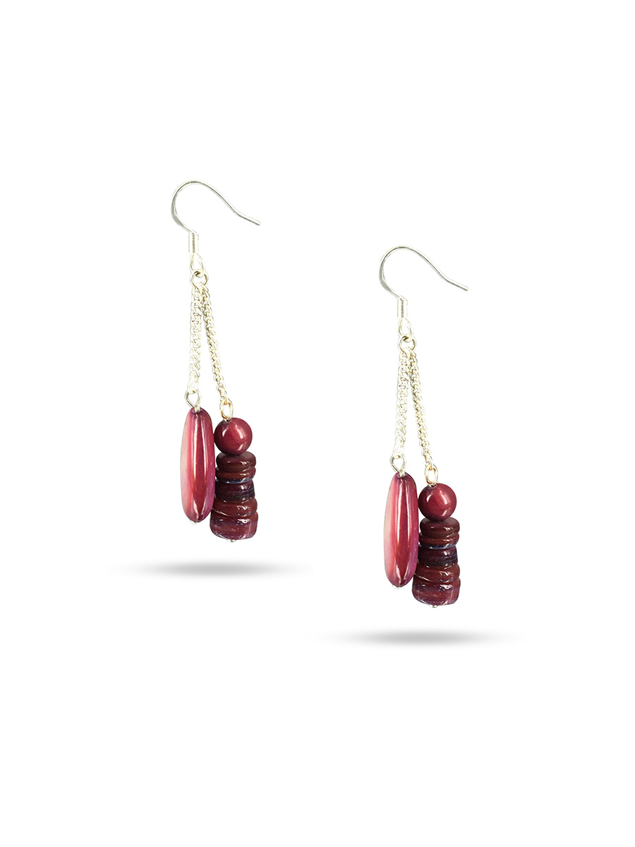PACIFIC PEARLS TREASURE ISLAND COLLECTION Spiced Plum Sweet Mother-of-Pearl Earrings