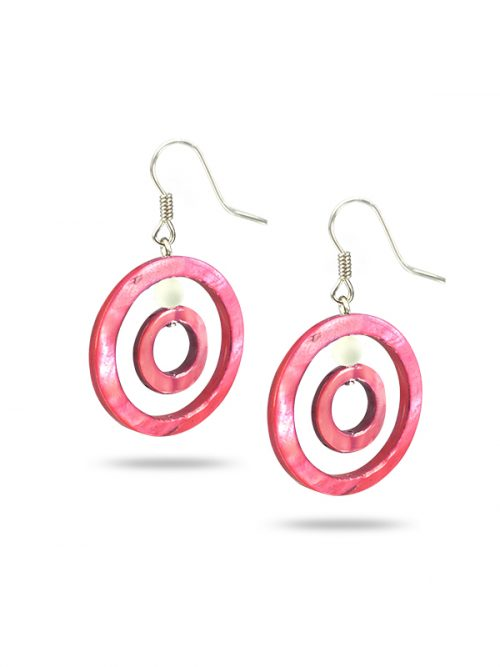 PACIFIC PEARLS TREASURE ISLAND COLLECTION Tropical Sunset Hula Hoop Mother-of-Pearl Earrings