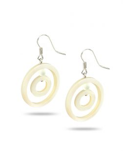 PACIFIC PEARLS TREASURE ISLAND COLLECTION White Clouds Hula Hoop Mother-of-Pearl Earrings