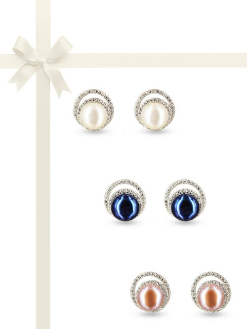 PACIFIC PEARLS TARA ISLAND COLLECTION Celeste Diamond Encrusted Pearl Earring Gift Set