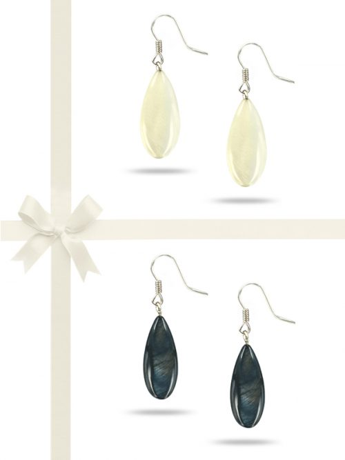 PACIFIC PEARLS TREASURE ISLAND COLLECTION Dewdrop Mother-of-Pearl Earring Gift Set