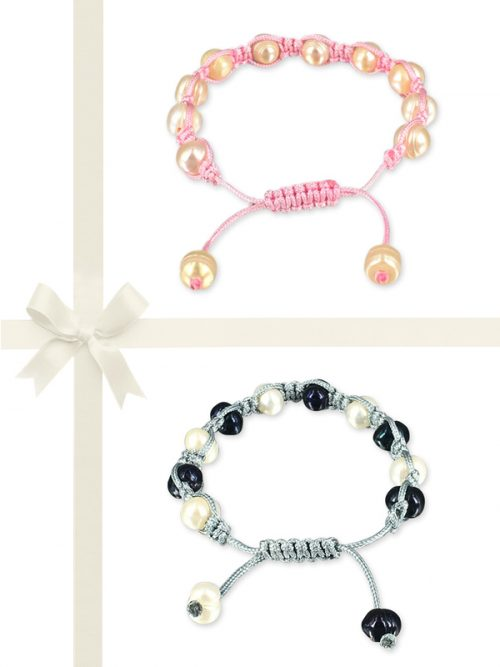PACIFIC PEARLS MERMAID BEACH COLLECTION Bubblegum & Denim Shamballa Pearl Bracelet Gift Set