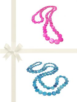 PACIFIC PEARLS OYSTER BAY COLLECTION Hot Pink & Lagoon Blue Mother-of-Pearl Gift Set