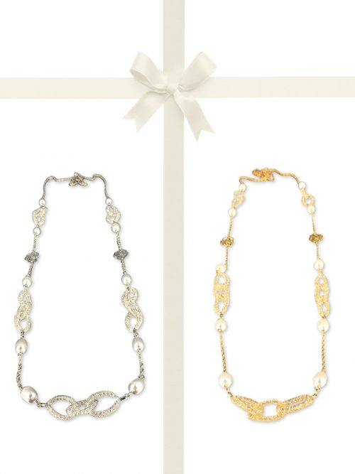 PACIFIC PEARLS ROSE ATOLL COLLECTION 14K Gold Filled Pearl and Swarovski Necklace Gift Set