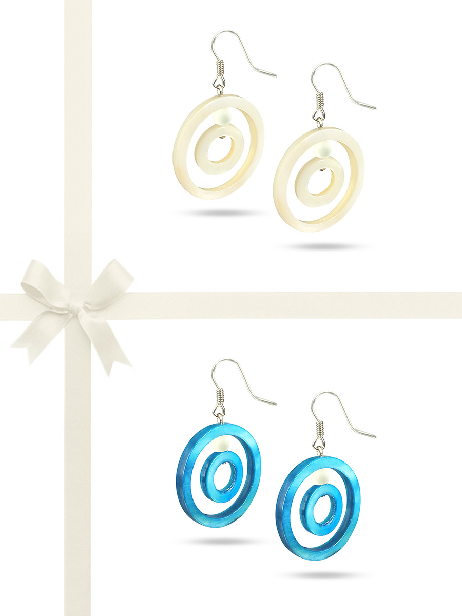 PACIFIC PEARLS TREASURE ISLAND COLLECTION White Clouds & Sky Blue Mother-of-Pearl Earring Gift Set