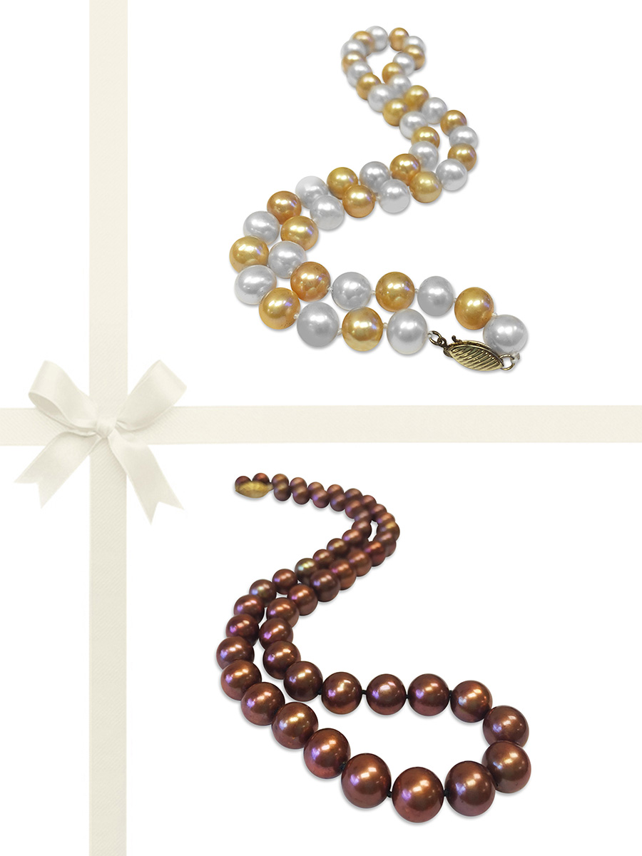 PACIFIC PEARLS MARIA-THERESA REEF COLLECTION Champagne & Chocolate 9-10mm Pearl Necklace Gift Set