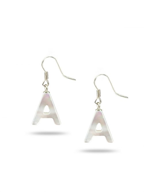 "PACIFIC PEARLS MAUNA LOA COLLECTION Letter ""A"" Mother-of-Pearl Earrings"