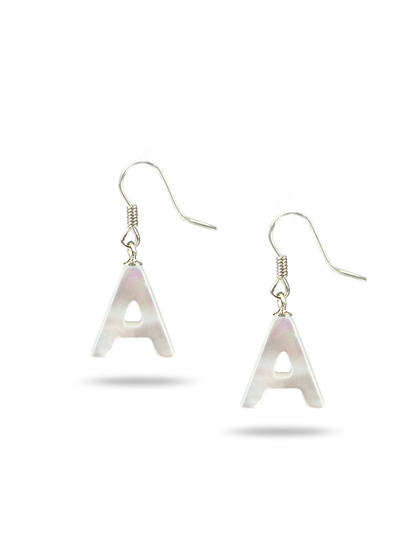"""PACIFIC PEARLS MAUNA LOA COLLECTION Letter """"A"""" Mother-of-Pearl Earrings"""