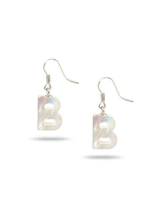 "PACIFIC PEARLS MAUNA LOA COLLECTION Letter ""B"" Mother-of-Pearl Earrings"
