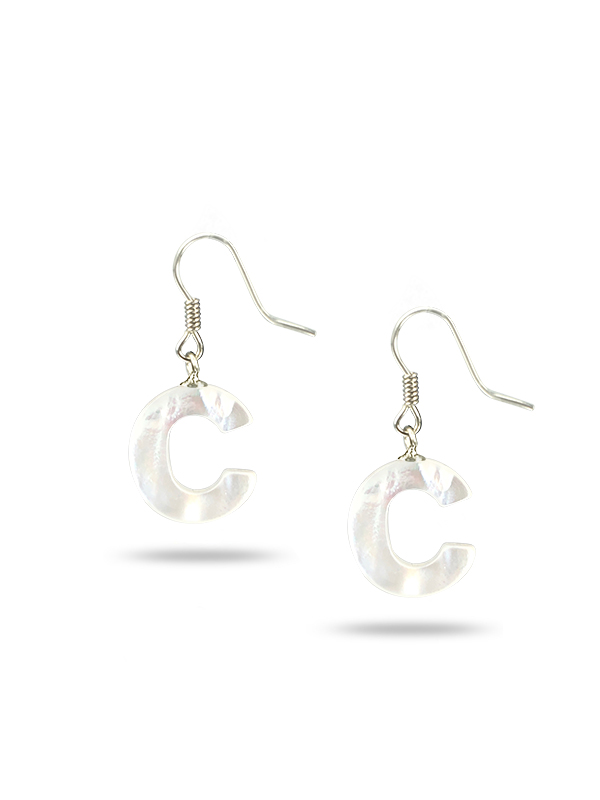 "PACIFIC PEARLS MAUNA LOA COLLECTION Letter ""C"" Mother-of-Pearl Earrings"