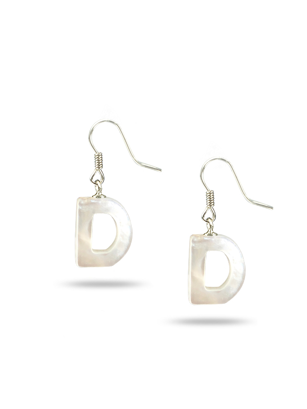 """PACIFIC PEARLS MAUNA LOA COLLECTION Letter """"D"""" Mother-of-Pearl Earrings"""