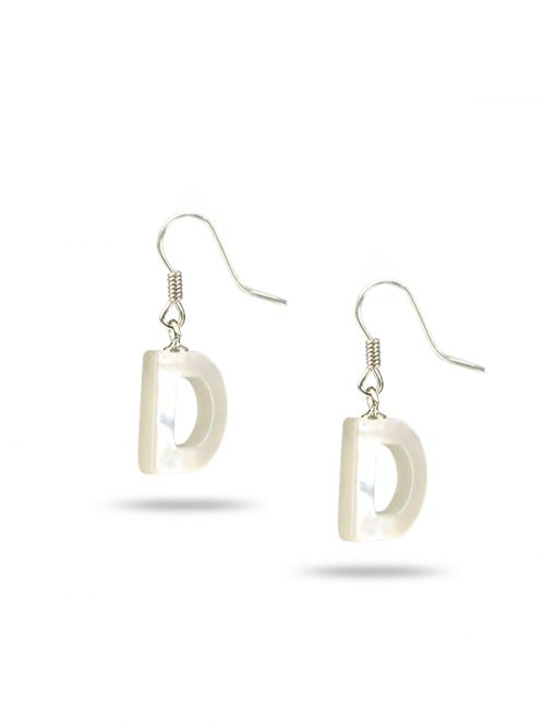 "PACIFIC PEARLS MAUNA LOA COLLECTION Letter ""D"" Mother-of-Pearl Earrings"