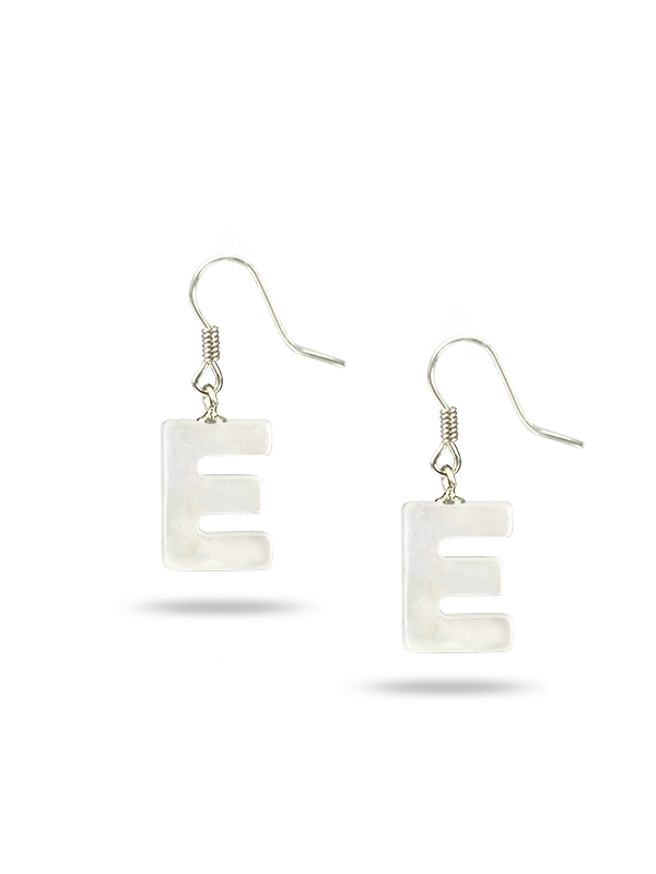"PACIFIC PEARLS MAUNA LOA COLLECTION Letter ""E"" Mother-of-Pearl Earrings"