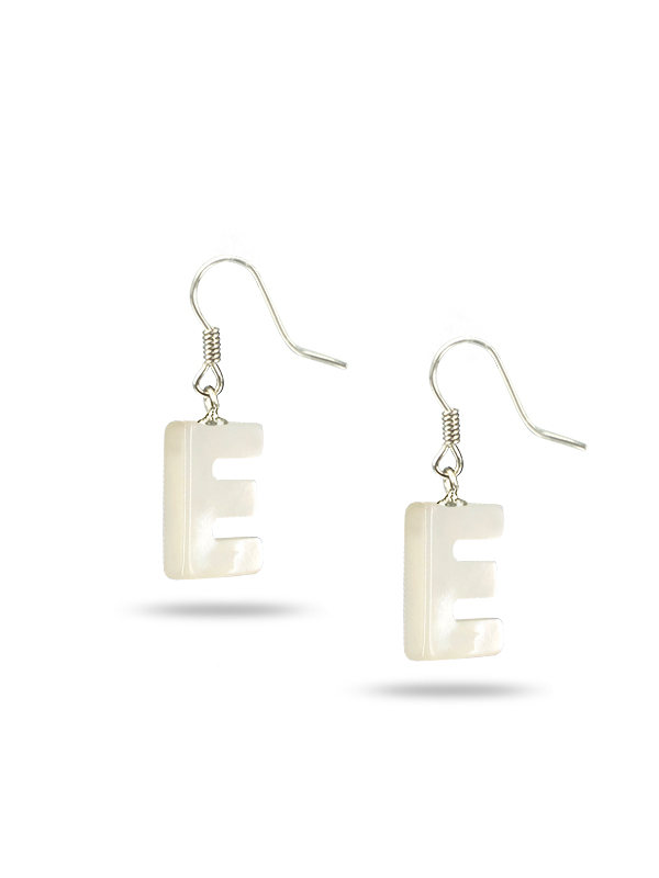 Mauna Loa Collection Letter E Mother Of Pearl Earrings