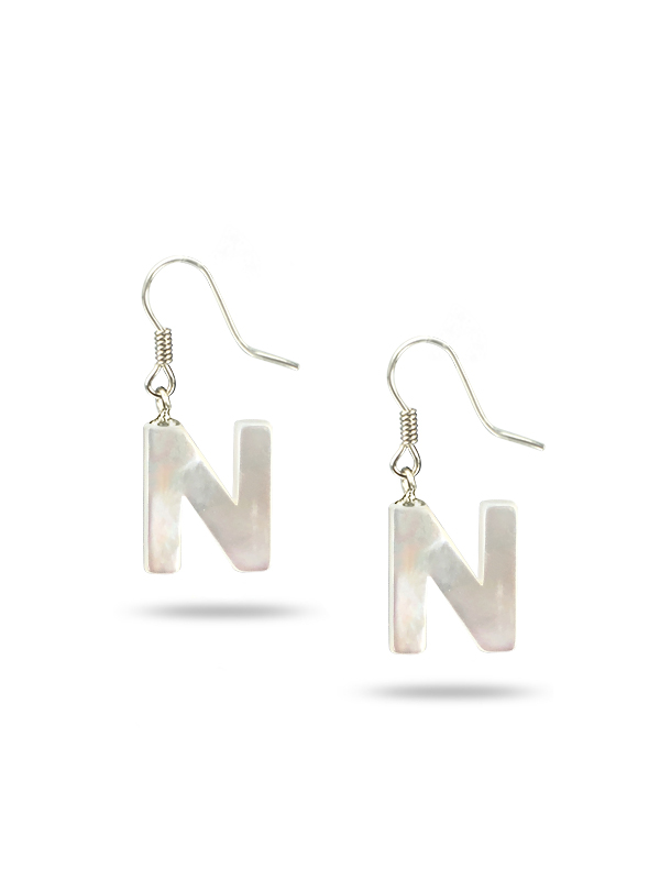 """PACIFIC PEARLS MAUNA LOA COLLECTION Letter """"N"""" Mother-of-Pearl Earrings"""