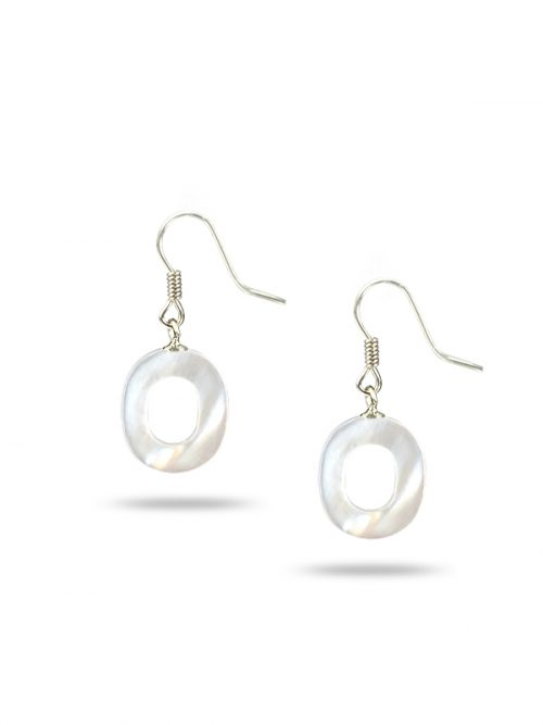 "PACIFIC PEARLS MAUNA LOA COLLECTION Letter ""O"" Mother-of-Pearl Earrings"