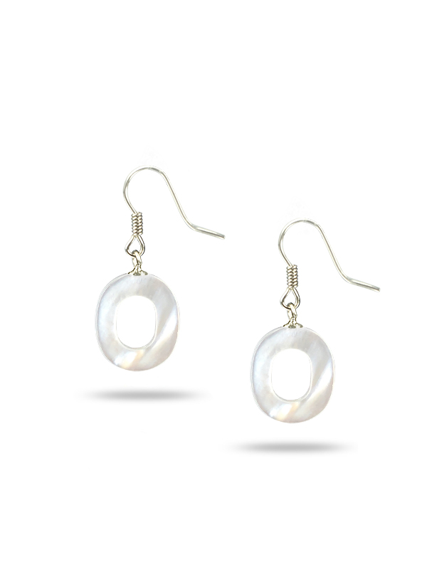 """PACIFIC PEARLS MAUNA LOA COLLECTION Letter """"O"""" Mother-of-Pearl Earrings"""