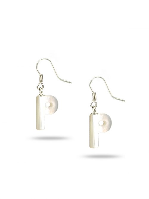 "PACIFIC PEARLS MAUNA LOA COLLECTION Letter ""P"" Mother-of-Pearl Earrings"