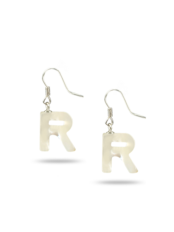 """PACIFIC PEARLS MAUNA LOA COLLECTION Letter """"R"""" Mother-of-Pearl Earrings"""