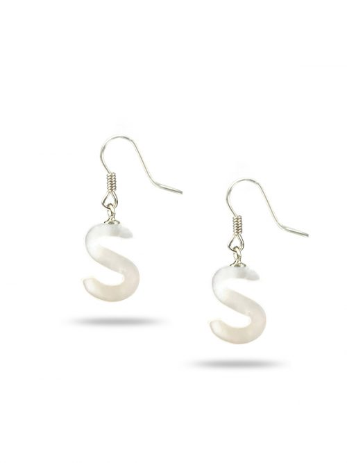 "PACIFIC PEARLS MAUNA LOA COLLECTION Letter ""S"" Mother-of-Pearl Earrings"