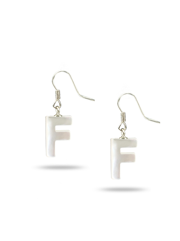 """PACIFIC PEARLS MAUNA LOA COLLECTION Letter """"F"""" Mother-of-Pearl Earrings"""