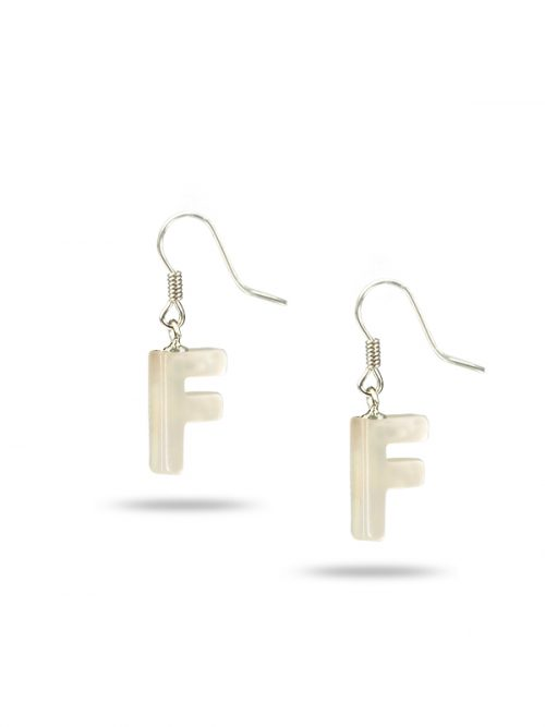 "PACIFIC PEARLS MAUNA LOA COLLECTION Letter ""F"" Mother-of-Pearl Earrings"