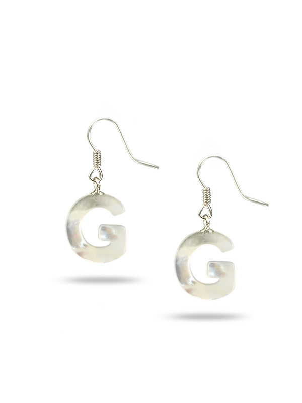 """PACIFIC PEARLS MAUNA LOA COLLECTION Letter """"G"""" Mother-of-Pearl Earrings"""