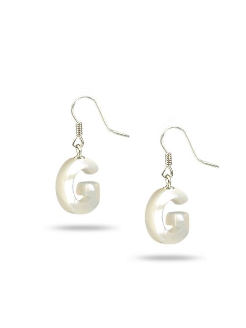 "PACIFIC PEARLS MAUNA LOA COLLECTION Letter ""G"" Mother-of-Pearl Earrings"