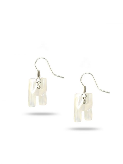 "PACIFIC PEARLS MAUNA LOA COLLECTION Letter ""H"" Mother-of-Pearl Earrings"