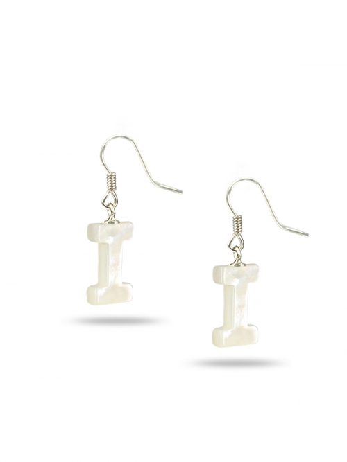 "PACIFIC PEARLS MAUNA LOA COLLECTION Letter ""I"" Mother-of-Pearl Earrings"