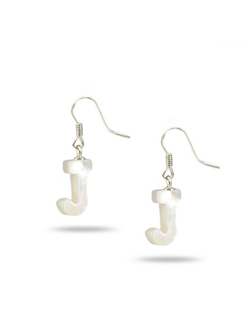 "PACIFIC PEARLS MAUNA LOA COLLECTION Letter ""J"" Mother-of-Pearl Earrings"