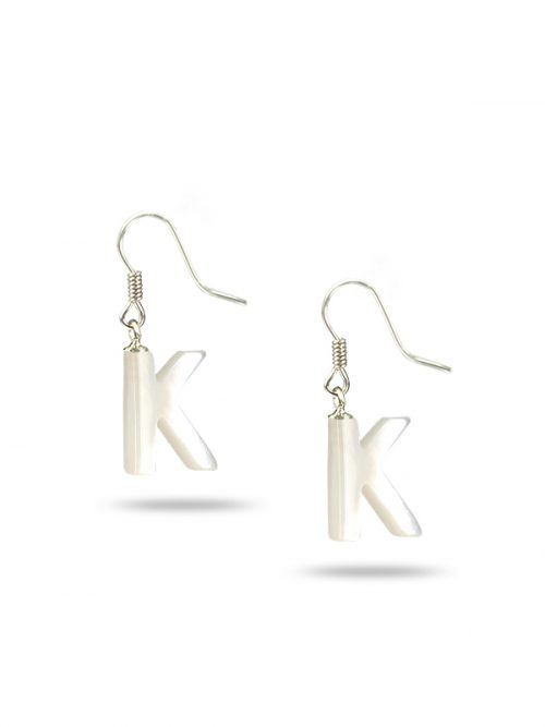 "PACIFIC PEARLS MAUNA LOA COLLECTION Letter ""K"" Mother-of-Pearl Earrings"