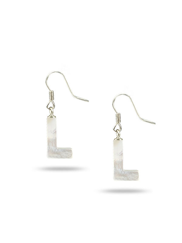 """PACIFIC PEARLS MAUNA LOA COLLECTION Letter """"L"""" Mother-of-Pearl Earrings"""