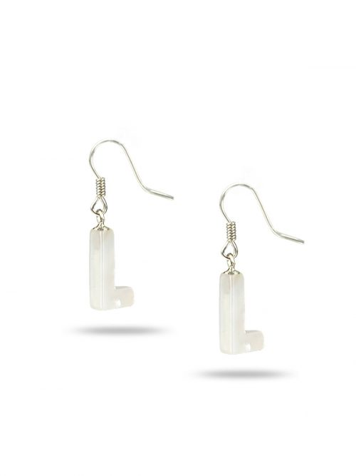 "PACIFIC PEARLS MAUNA LOA COLLECTION Letter ""L"" Mother-of-Pearl Earrings"