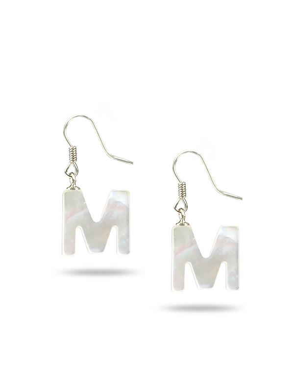 """PACIFIC PEARLS MAUNA LOA COLLECTION Letter """"M"""" Mother-of-Pearl Earrings"""